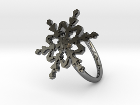 Snowflake Ring 2 d=18mm h21d18 in Fine Detail Polished Silver