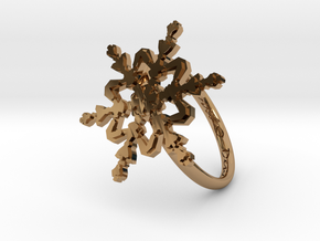 Snowflake Ring 2 d=18mm h21d18 in Polished Brass