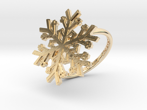Snowflake Ring 1 d=18mm h21d18 in 14k Gold Plated Brass