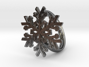 Snowflake Ring 1 d=19mm h35d19 in Fine Detail Polished Silver