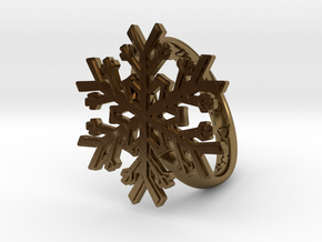 Snowflake Ring 1 d=19mm h35d19 in Polished Bronze