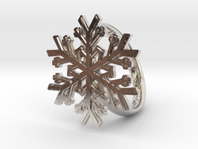 Snowflake Ring 1 d=19mm h35d19 in Rhodium Plated Brass