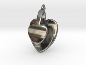 San Valentino Heart Earring in Fine Detail Polished Silver