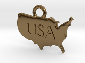 USA Pendant in Polished Bronze