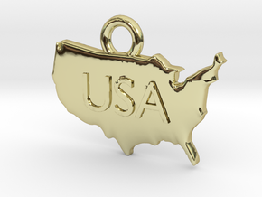 USA Pendant in 18k Gold Plated Brass