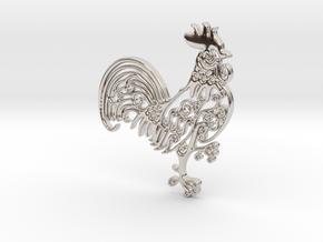 Rooster_Pendant in Platinum