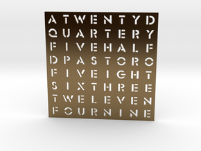 Timesquare Wordclock faceplate (Stencil font) in Polished Bronze