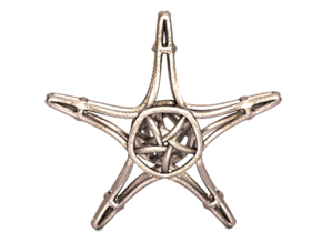 Starfish Wireframe Keychain in Stainless Steel