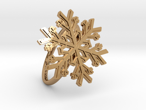 Snowflake Ring 1 d=19mm h21d19 in Polished Brass