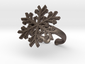 Snowflake Ring 1 d=19.5mm Adjustable h35d195a in Polished Bronzed Silver Steel