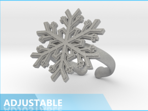 Snowflake Ring 1 d=19.5mm Adjustable h35d195a in Raw Aluminum