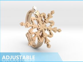 Snowflake Ring 2 d=19.5mm Adjustable h35d195a in 14k Rose Gold Plated Brass