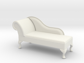 1:24 Queen Anne Chaise (Right Facing) in White Natural Versatile Plastic