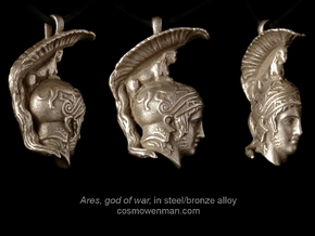 Steel Ares, god of war pendant (profile) in Stainless Steel