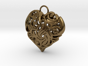 Heart Shaped Pendant in Polished Bronze
