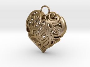 Heart Shaped Pendant in Polished Gold Steel