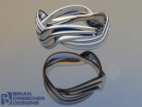 Turban Roll - Ring in Fine Detail Polished Silver