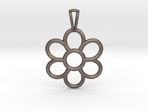 Share Your Smile With Me Sunflower Pendant (Small) in Polished Bronzed Silver Steel
