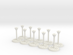 """Starship Stand 1"""" base, 10-pack in White Natural Versatile Plastic"""