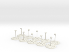 StarshipStand V011 1.5 Inch 10pack in White Natural Versatile Plastic