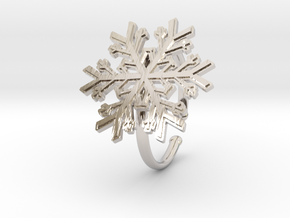 Snowflake Ring 1 d=19.5mm Adjustable h21d195a in Rhodium Plated Brass