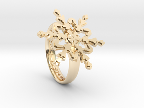Snowflake Ring 2 d=16.5mm h35d165 in 14k Gold Plated Brass