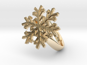 Snowflake Ring 1 d=16.5mm h35d165 in 14k Gold Plated Brass