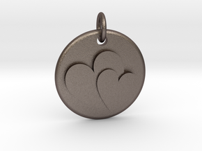 Two hearts pendant in Polished Bronzed Silver Steel