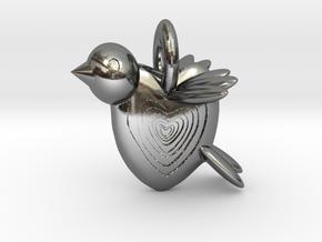 Valentine Bird in Fine Detail Polished Silver