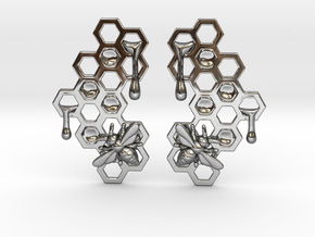 Honey Comb Earring Set in Fine Detail Polished Silver