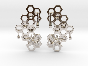 Honey Comb Earring Set in Rhodium Plated Brass