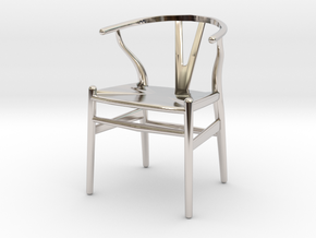 Wishbone style chair 1/12 scale  in Rhodium Plated Brass