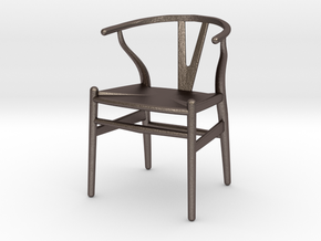 Wishbone style chair 1/12 scale  in Polished Bronzed Silver Steel
