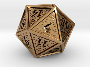 Hedron D20 (Hollow), balanced gaming die in Polished Brass