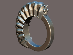 Caterpillar Ring - US Size 9 in Polished Silver