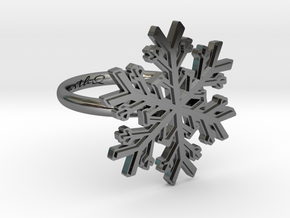 Snowflake Ring 1 d=16.5mm h21d165 in Fine Detail Polished Silver