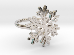 Snowflake Ring 1 d=16.5mm h21d165 in Rhodium Plated Brass