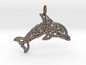 Celtic Sea Pendant in Polished Bronzed Silver Steel