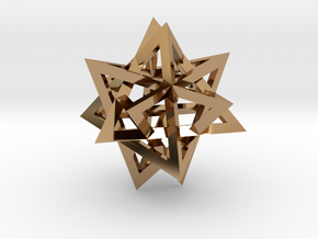 Tetrahedron 4 compound earring in Polished Brass
