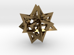 Tetrahedron 4 compound earring in Polished Bronze