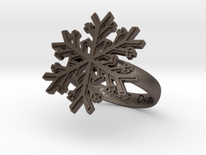 Snowflake Ring 1 d=17.5mm h35d175 in Polished Bronzed Silver Steel