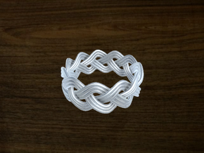 Turk's Head Knot Ring 3 Part X 11 Bight - Size 11. in White Strong & Flexible
