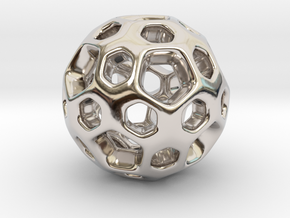 HONEYBOMB SMOOTH Charm in Rhodium Plated Brass