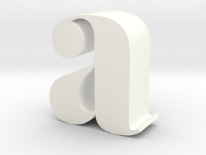 Lowercase A in White Processed Versatile Plastic