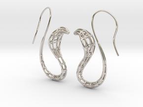 Cobra Earrings Wireframe in Rhodium Plated Brass