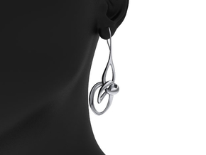 Treble Clef Earrings in Rhodium Plated Brass