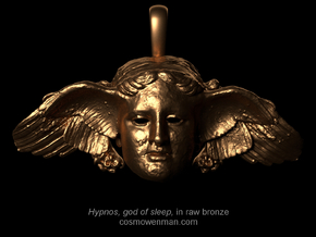 Hypnos, god of sleep, pendant (restored wing) in Natural Bronze