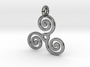 Triple Spiral in Fine Detail Polished Silver