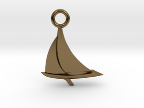 Sailboat Pendant in Polished Bronze