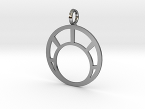 Combination Pendant Front 25 mm in Fine Detail Polished Silver